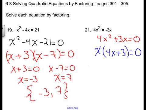 6-3 Solving Quadratic Equations by Factoring - YouTube