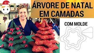 ÁRVORE DE NATAL DE TECIDO EM CAMADAS (COM MOLDE PARA BAIXAR)