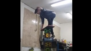 Guy Practicing Rola Bola In His Garage