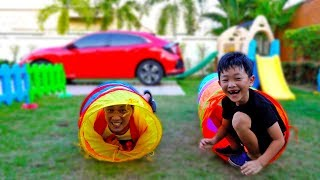 Surprise Toys Hide and Seek Game Play with Papa Car Toys Video for Kids