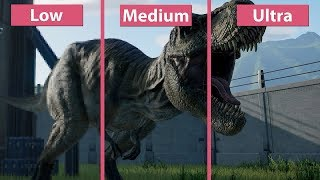 [4K] Jurassic World Evolution – PC Lowest vs. Medium vs. Ultra Frame Rate Test & Graphics Comparison