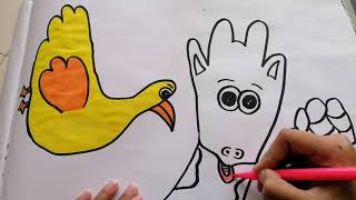 How to Draw Animals with Hand Shape - Kids Video