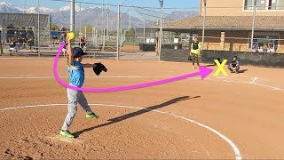 Girl Pitches 3 STRIKE OUTS at Softball Game!
