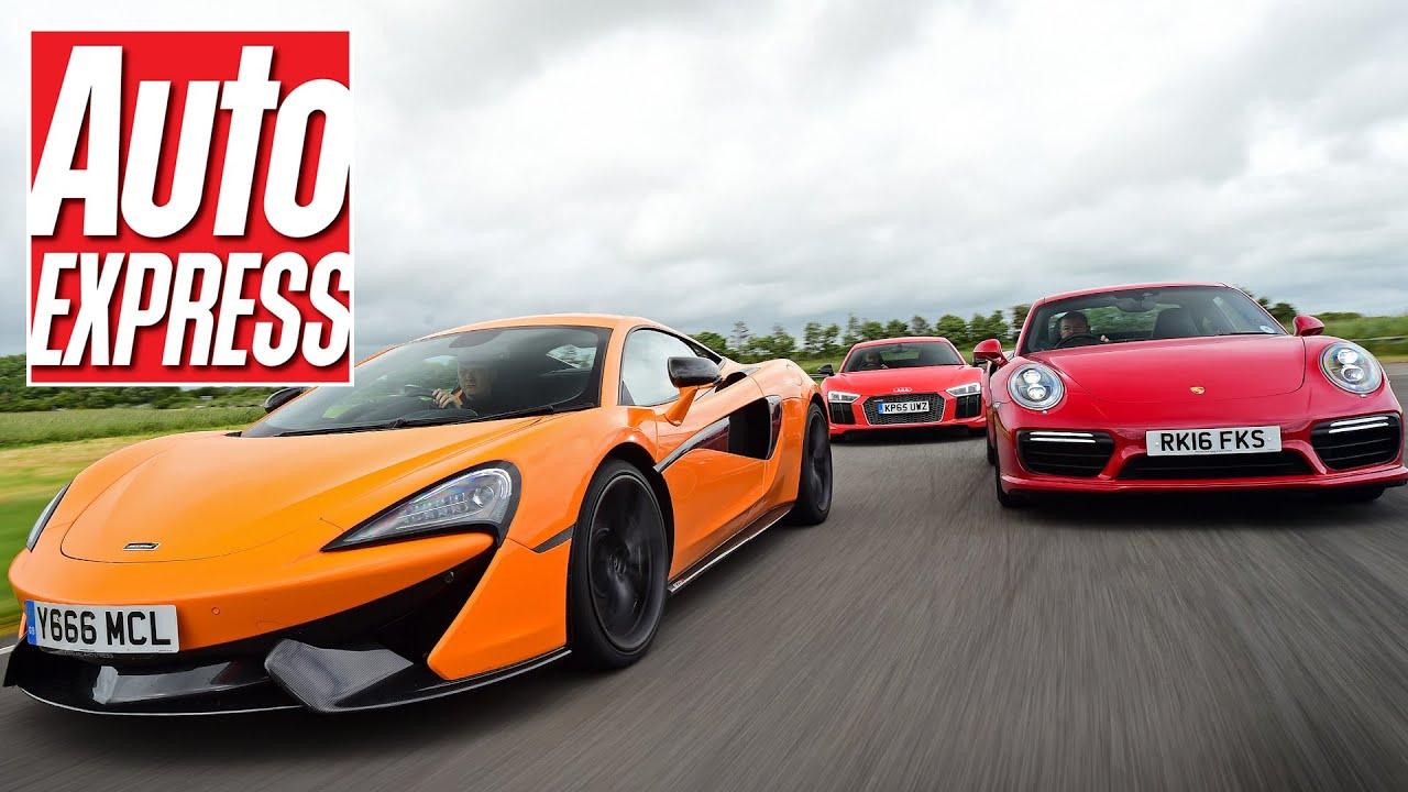 McLaren 570S vs Audi R8 V10 Plus vs Porsche 911 Turbo S | Auto Express