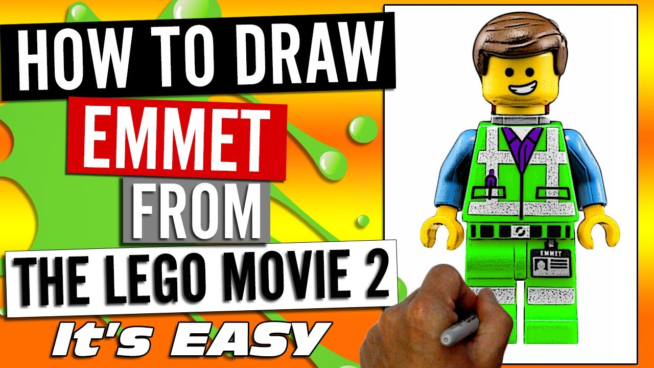 How To Draw Emmet Brickowski From The Lego Movie 2 Second Part 2019