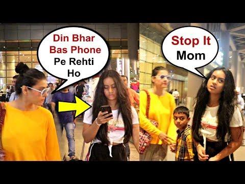 Kajol Angry On Daughter Nysa Devgan For Using Mobile Phone On Airport