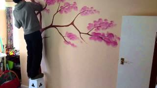 Wall tree painting time-lapse