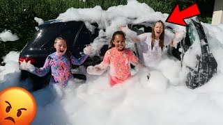 FOAM PIT PRANK ON MY MOM'S CAR!!