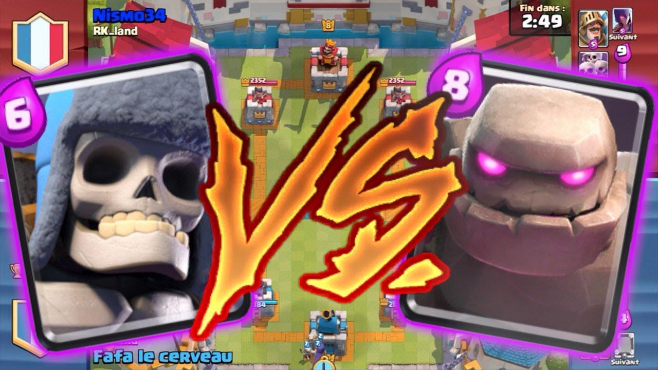Match Epic: Golem Contre Géant Squelette Sur Clash Royale
