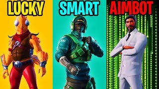 LUCKY vs SMART vs AIMBOTTER - Fortnite Battle Royale