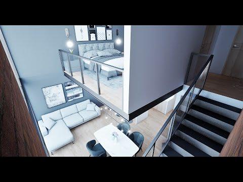 Plano de casa  6X14m LOFT MINIMALISTA INDUTRIAL.