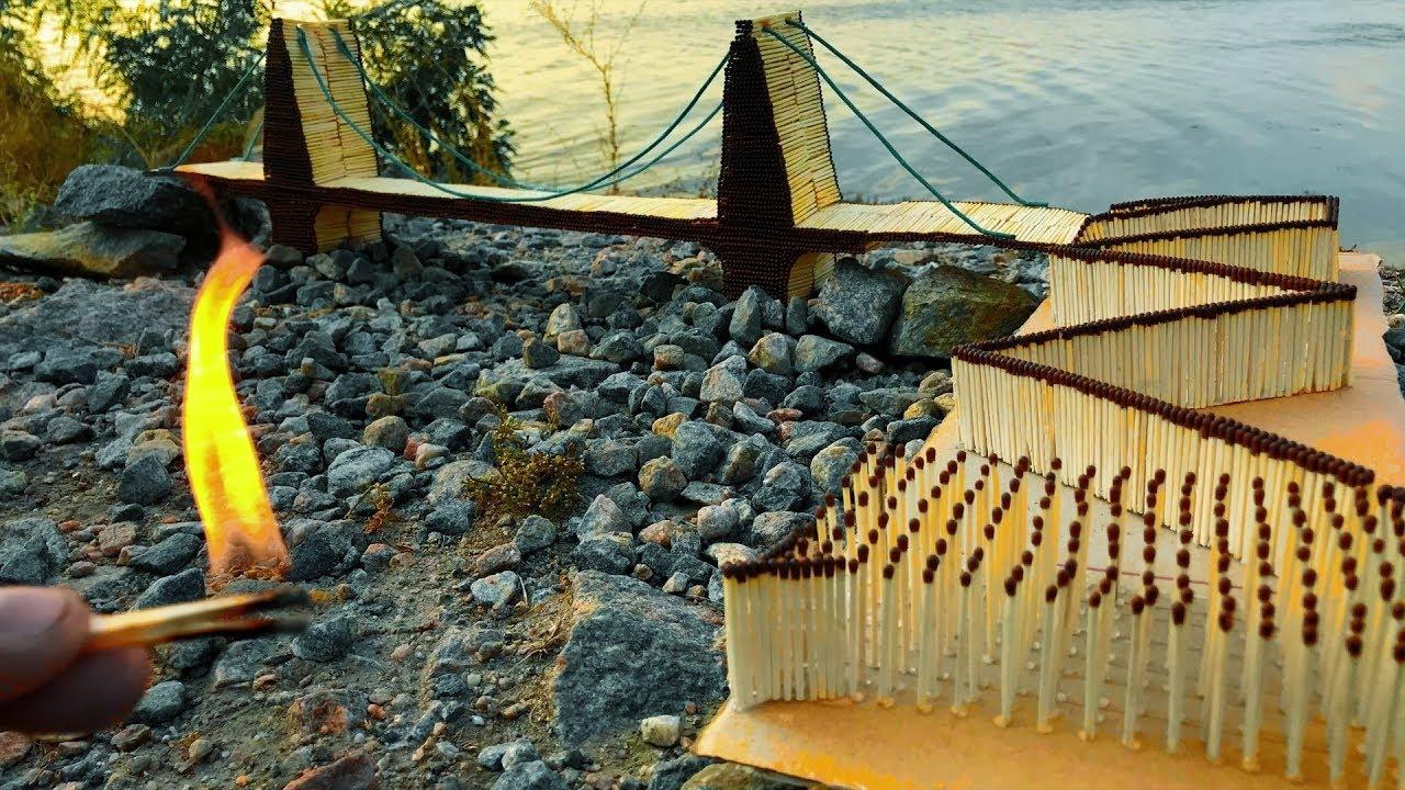 10,000 Art Matches chain reaction domino effect. Match Sticks Bridge