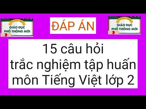 Đáp án 15 câu hỏi trắc nghiệm tập huấn môn Tiếng Việt lớp 2