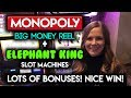 LOTS of ACTION on Monopoly Big Money Wheel and Elephant King! Max Bet Great Bonus WINS!