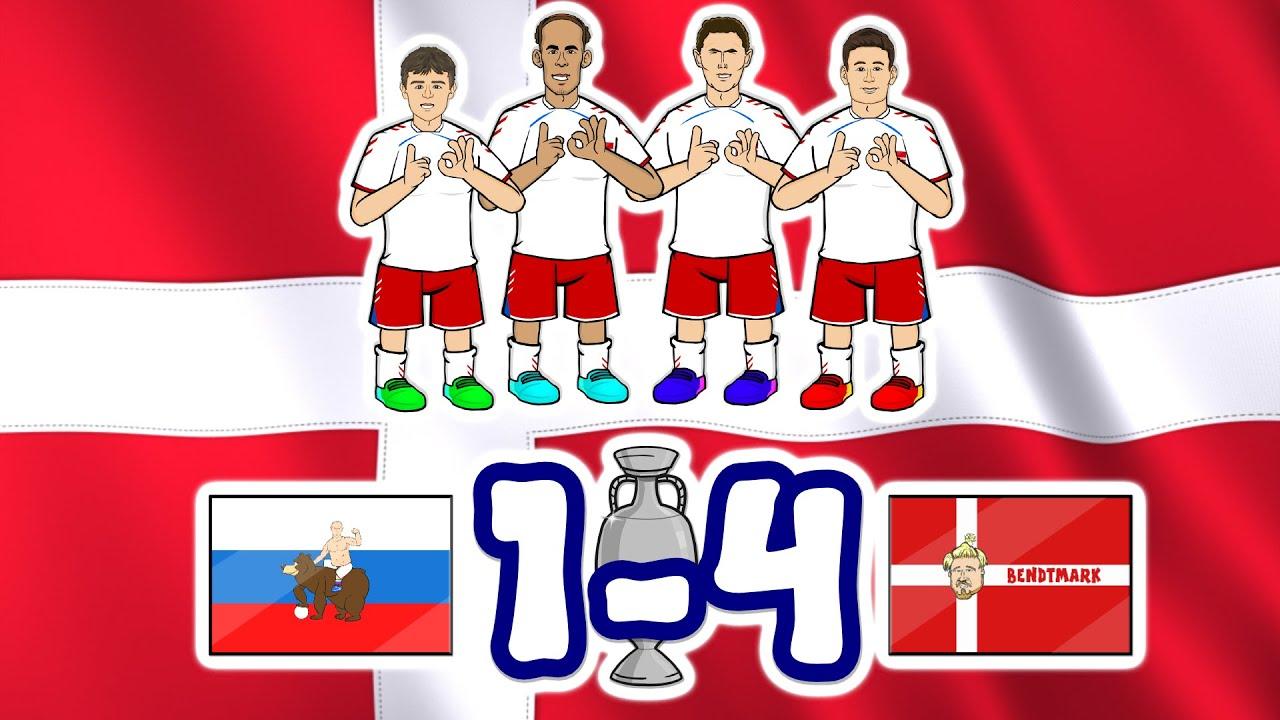 💥Denmark DESTROY Russia!💥 Christensen Goal! Damsgaard! Poulsen! (Euro 2020 1-4 Goals Highlights)