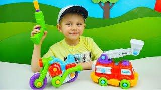 Пожарная машинка и Мотоцикл из серии Собирай и Играй - Детские инструменты Build and Play