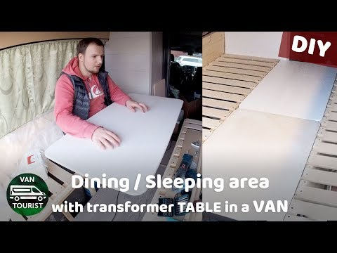 RV Table to Bed conversion. Diy sleeping and dining area idea for camper vanconversion