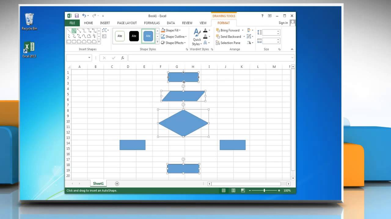 how to make a flow chart in excel 2013 youtube Excel Charts how to make a flow chart in excel 2013
