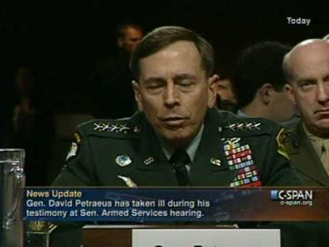 General Petraeus Passing Out During Senate Armed Services Committee meeting 6-15-10