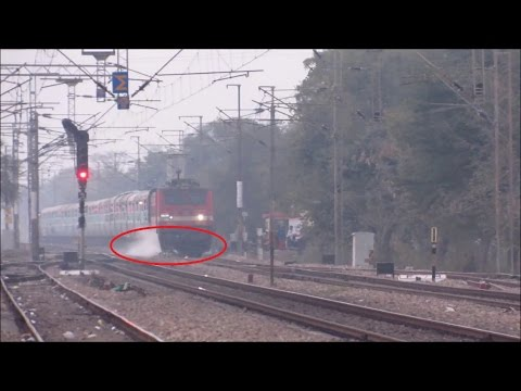 Freaky Accident.. Train Crushes Cycle and the Loco Pilot applies Emergency Brakes || Indian Railways