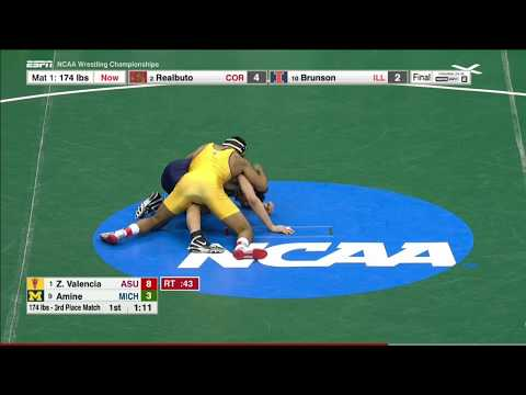 2017 NCAA Wrestling 174lbs: Zahid Valencia (Arizona State) vs Myles Amine (Michigan)