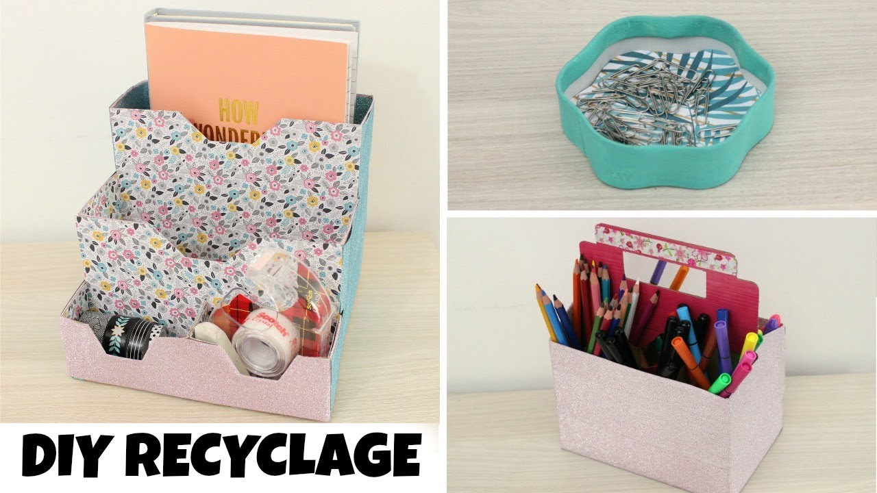 diy recyclage 3 rangements pour le bureau youtube. Black Bedroom Furniture Sets. Home Design Ideas
