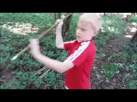spear throwing in the woods with Jack and Harry
