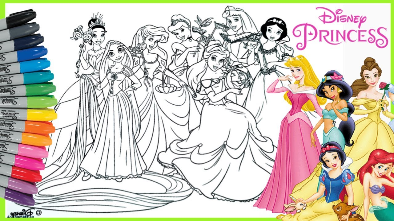 Mewarnai Princess Disney Coloring Page Ariel Snow White Belle Aurora Cinderella Tiana Rapunzel