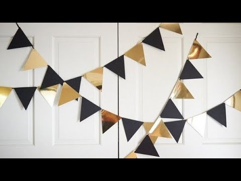 DIY: PARTY DECORATION: BLACK AND GOLD THEME PARTY BANNER  #themeparty #handmade #blackandgold #diy