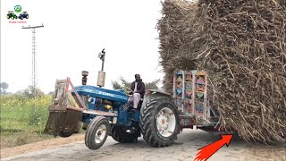 Tractor Stunt | Ford Tractor Carry Sugarcane Trolley From Field To Road | Punjab Tractors
