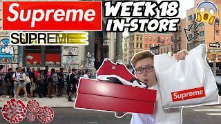 "SUPREME IN-STORE IS FINALLY BACK! Supreme Week 18 & Air Jordan 14 ""Toro"" In-Store Vlog! | MOGO SZN"