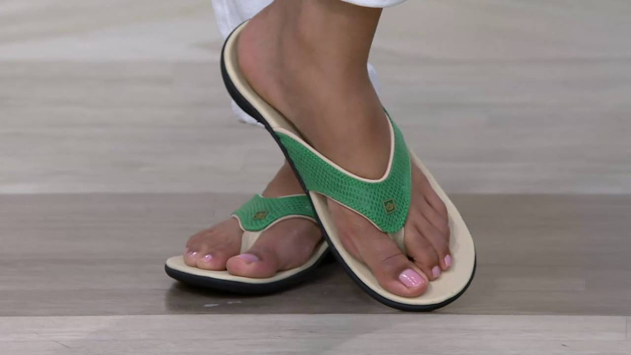 8db432f83df Spenco Snake Print Orthotic Thong Sandals - Yumi on QVC - YouTube