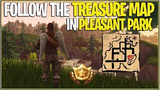 *NEW* Fortnite: Follow the Treasure Map found In Pleasant Park! | (Season 4 Week 7 Challenge)