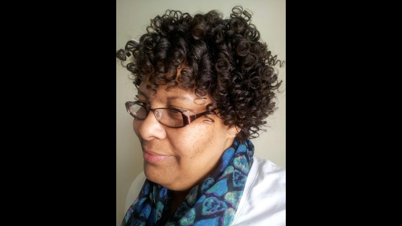 Roller Set With Perm Rods Relaxed Hair Youtube