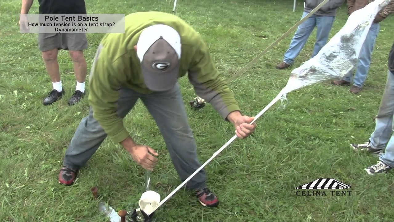 Pole Tent Basics - How Much Tension is on a Tent Strap? & Pole Tent Basics - How Much Tension is on a Tent Strap? - YouTube
