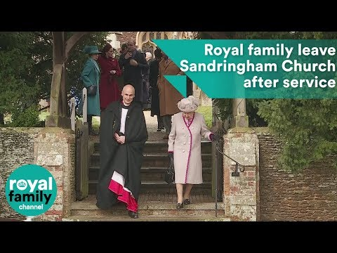 Queen and royal family depart Sandringham Church after Christmas Day service