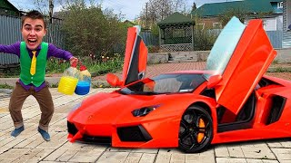 Mr. Joe put Colored Cups under Wheel Car VS Mr. Vlad on lamborghini aventadoro VS Cups 13+