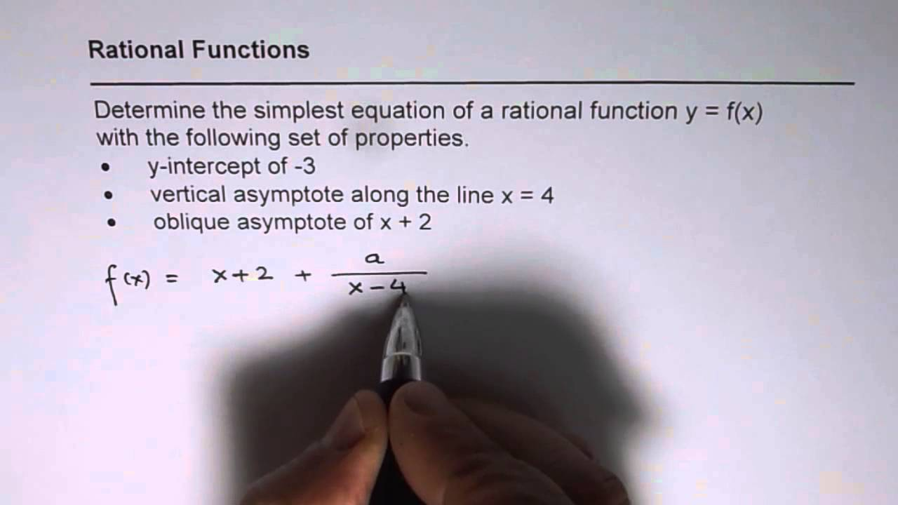 Write Rational Function With Given Oblique and Vertical Asymptote ...