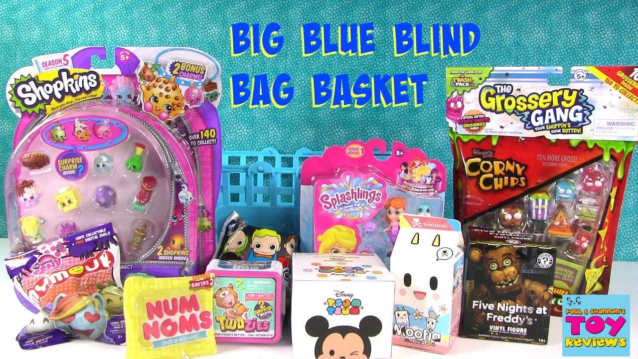 Shopkins Big Blue Basket Of Blind Bags Opening Num Noms