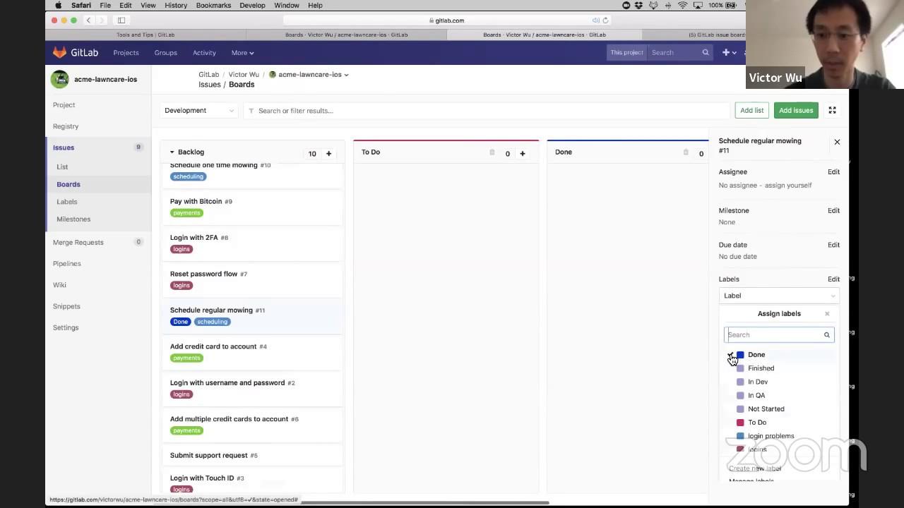 GitLab issue boards demo