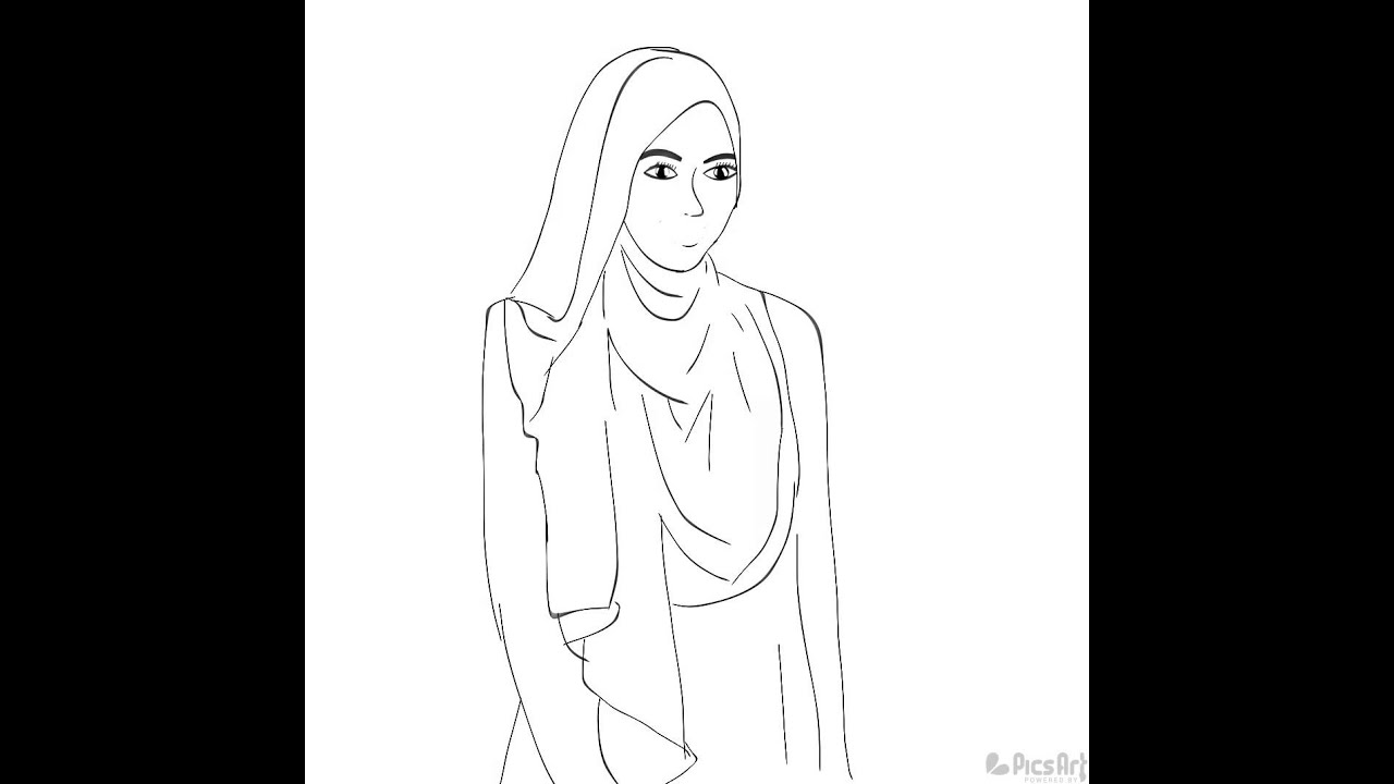 Sketsa Gambar Wanita Berhijab