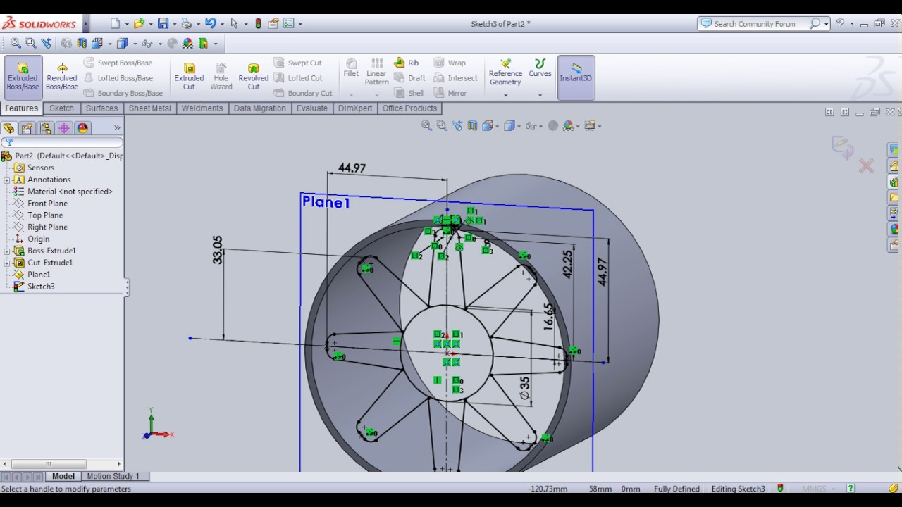 How to make Axial Fan Body In solid Work