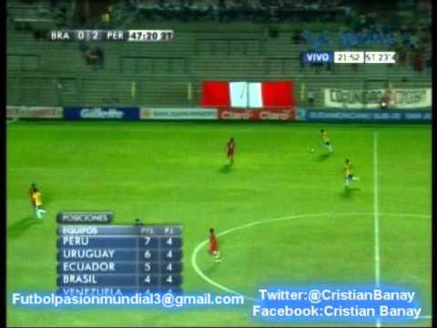 (2-0) Peru 2 Brasil 0  (Audio Radio Oriental) Sudamericano Sub 20 2013 2do gol.(18/1/2013)