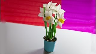 How to make a paper flower   Flower Making of Crepe Paper   Narcissus flower