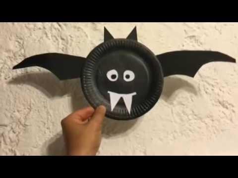 Chauve souris avec assiette en carton youtube - Deco halloween chauve souris ...