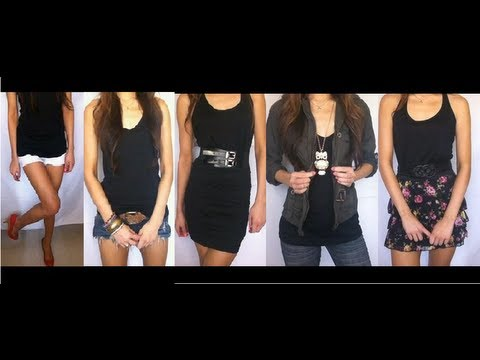 10 Ways To Wear A Basic Black Tank Top (Ten Outfit Ideas) - YouTube