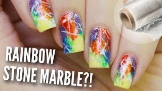 DIY Rainbow Stone Marble Nails | Easy Hack!