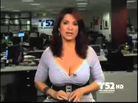 Big tit news anchor