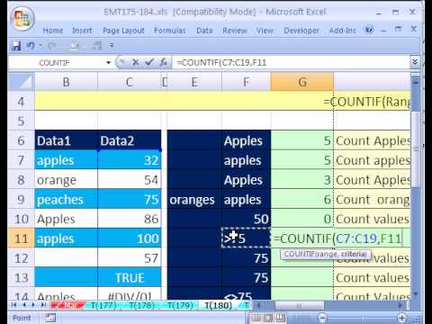 Excel Magic Trick #180: COUNTIF function formula 21 Examples of Different Criteria