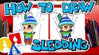 How To Draw A Kid Sledding + Spotlight